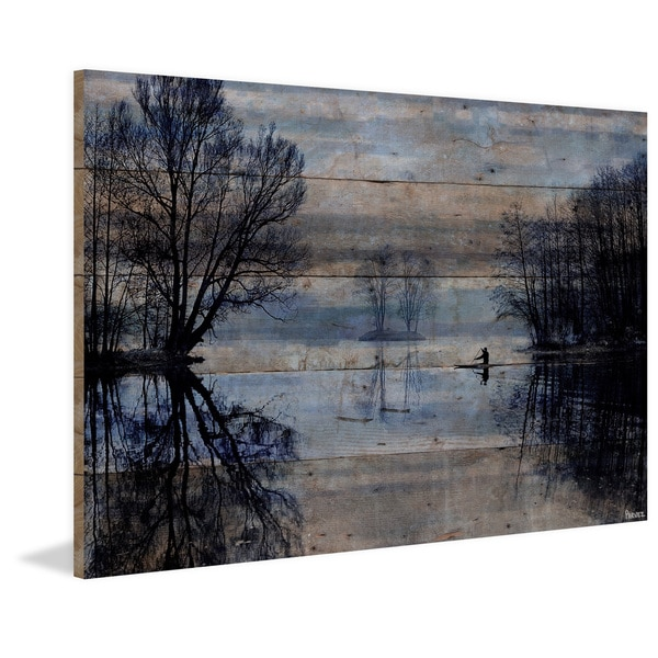Handmade Parvez Taj - Burntroot Lake Print on Reclaimed Wood
