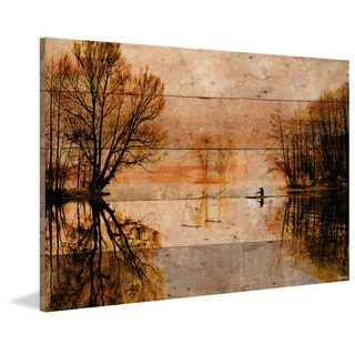 Parvez Taj - 'Glass Lake' Painting Print on Reclaimed Wood