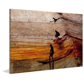 Parvez Taj - 'Surfing the Wave' Painting Print on Reclaimed Wood