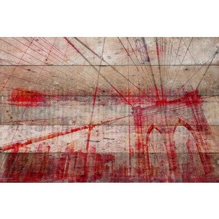 Parvez Taj - 'Brooklyn Bridge' Painting Print on Reclaimed Wood
