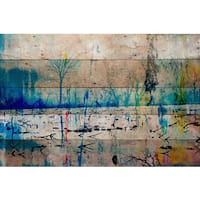 Parvez Taj - 'Morrison Lake' Painting Print on Reclaimed Wood - Multi-color