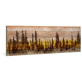 Parvez Taj - 'Pine Tree Sunset' Painting Print on Reclaimed Wood