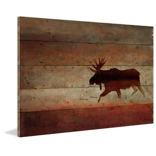 Handmade Parvez Taj - Moosehead Print on Reclaimed Wood