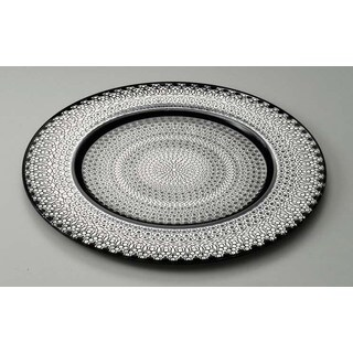 Majestic Gifts Silver Painted 12.6-inch Quality Glass Charger Plate