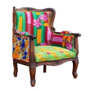 One of a Kind Vintage Kantha Armchair