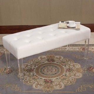 Bellingham Natural Fabric and Clear Acrylic Ottoman