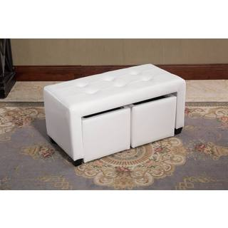 Guntrin White Bicast Leather Double Bin Ottoman