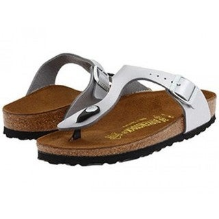 Birkenstock Women's Gizeh Birko-Flor Silvertone Suede Thong Sandals