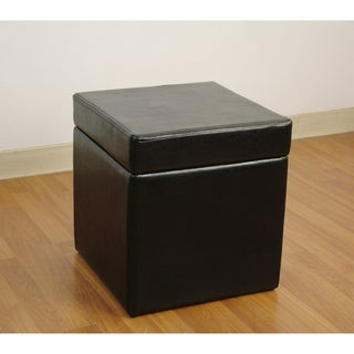 Black Faux Leather Box Storage Ottoman
