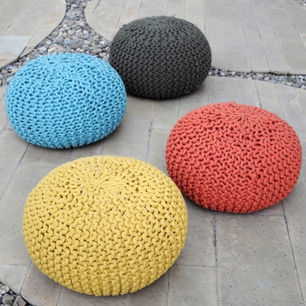 Shop Moro Cotton-knit Fabric Ottoman Pouf by Christopher Knight Home ...
