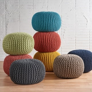 Moro Cotton-knit Fabric Ottoman Pouf by Christopher Knight Home (Option: Yellow)