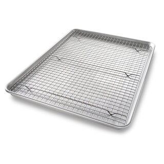 USA Pan Aluminized Steel Half Baking Sheet with Cooling Rack
