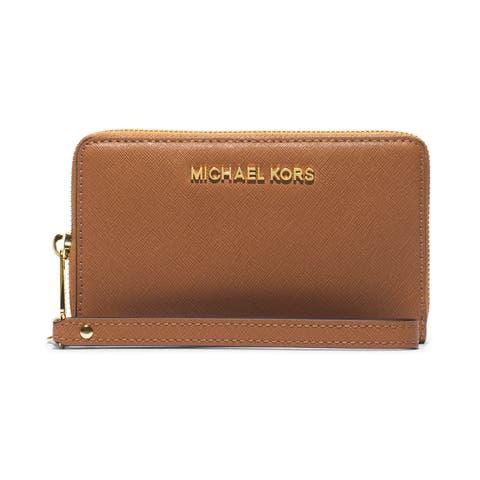 Michael Kors Saffiano Jet Set Brown Leather Wristlet Wallet