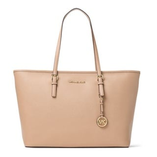 Michael Kors Jet Set Travel Multifunction Oyster Saffiano Leather Tote Bag