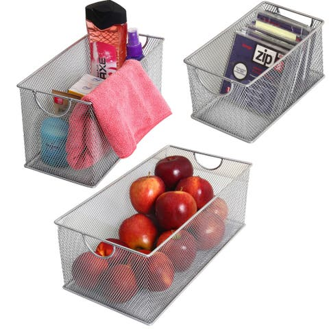 Set of 3 Stainless Steel Mesh Storage Boxes