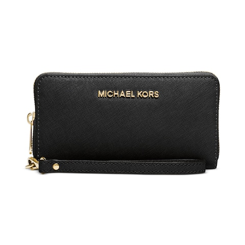 Michael Kors Saffiano Jet Set Black Leather Wallet