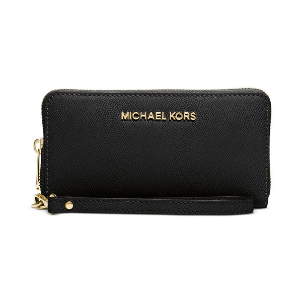 c76cf666580a Shop Michael Kors Saffiano Jet Set Black Leather Wallet - On Sale ...