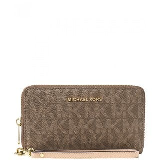 Michael Kors Jet Set Signature Mocha PVC Flat Multifunction Phone Wallet