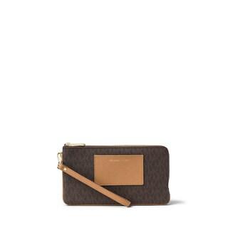Michael Kors Brown PVC Large Double-zip Wristlet Wallet With Pocket