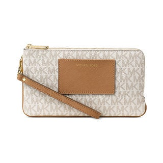 Michael Kors Beige PVC Large Double-zip Vanilla Wristlet with Pocket