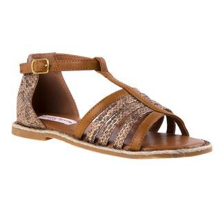 Nanette Lepore Girls' White and Brown Polyurethane Sandals