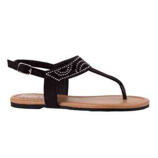 Kensie Girl Girls' Black Faux Leather Thong Sandals