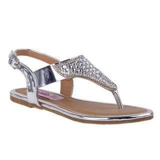 Kensie Girl Women's Silver Polyurethane Thong Sandal