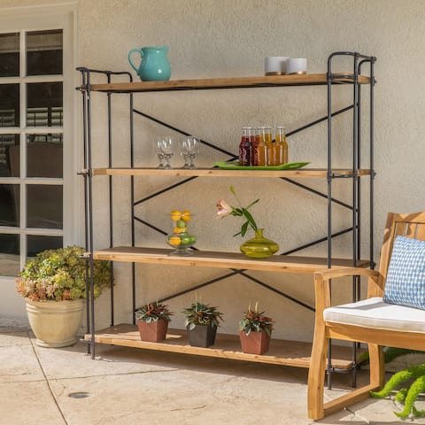 "Cedarburg Fir Wood Outdoor 4-tier Industrial Bookcase by Christopher Knight Home - 64.00"" W x 17.50"" D x 65.50"" H"
