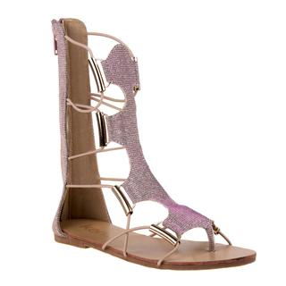Kensie Girls' Metallic Silver Polyurethane Gladiator Sandals