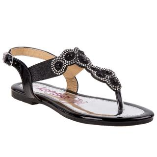 Kensie Girl Girls' Black Faux Leather Thong Sandal