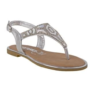 Kensie Girl Girls' Silver-tone Faux Leather Thong Sandal