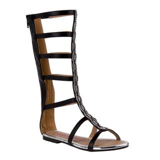 Kensie Girl Girls' Black Faux Leather Gladiator Sandal