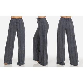 Juniors' Chiffon Striped Wide-Leg Pants