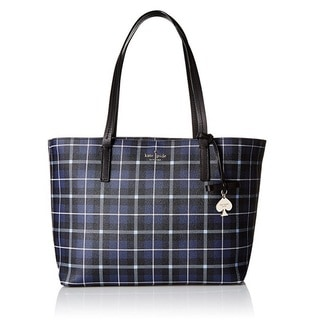 Kate Spade New York Hawthorne Lane Plaid Diver Blue Tote Bag