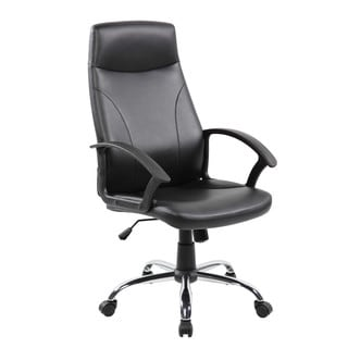 Black Faux-leather/Chrome High-back Office Task Chair