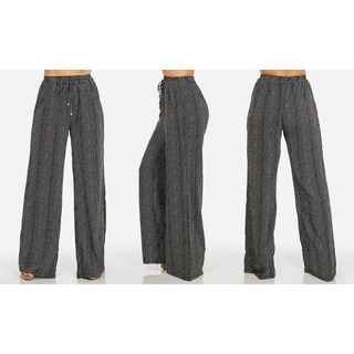 Juniors' Black Chiffon Striped Wide-leg Pants