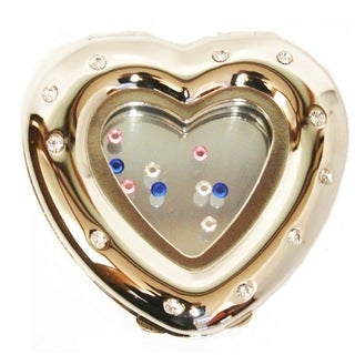 Gold-tone With Crystals Heart Compact Mirror