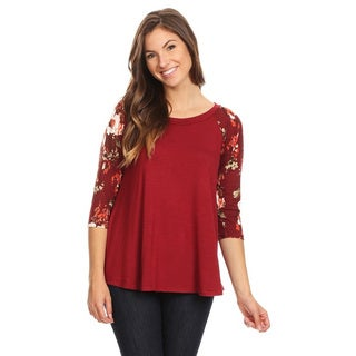 Women's Multicolor Rayon and Spandex Floral Sleeve Solid Top