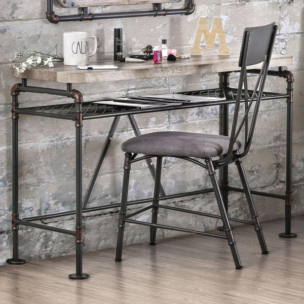 Furniture of America Revo Antique Black Industrial Desk Console