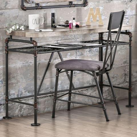 Revo Antique Black Industrial Desk/Console Table by FOA