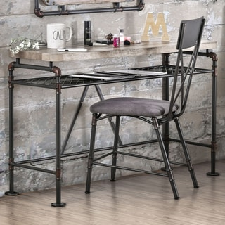 Furniture of America Revo Antique Black Industrial Desk/ Console Table