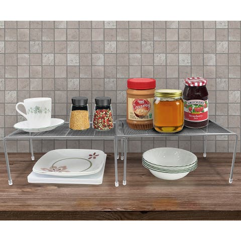 Sorbus Pantry Silver Steel Stackable and Expandable Cabinet Organizers