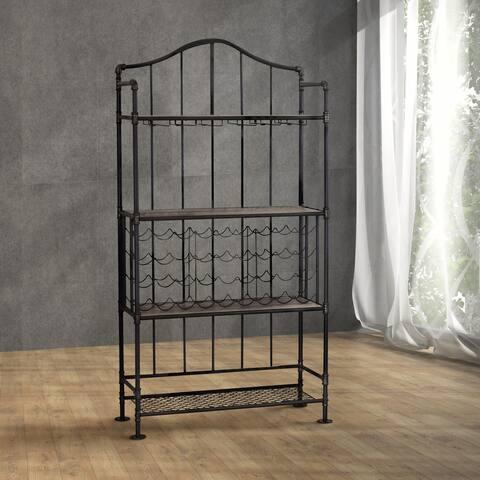 Carbon Loft Ella Industrial Black 4-tier Open Shelf and Wine Rack