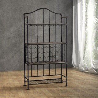 Gracewood Hollow Tanith Industrial Vintage Black 4-tier Open Shelf and Wine Rack