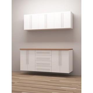 TidySquares Classic White Wood Workshop Storage Design 1