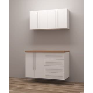 TidySquares Classic White Wood Workshop Storage Design 1