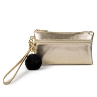Mundi Women's Faux Leather Pom Pom Wristlet Clutch Wallet|https://ak1.ostkcdn.com/images/products/13627485/P20296876.jpg?impolicy=medium