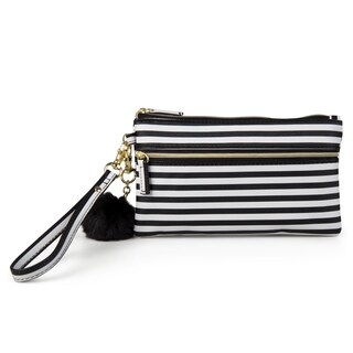 Mundi Women's Faux Leather Pom Pom Wristlet Clutch Wallet