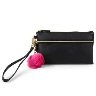 Mundi Women's Faux Leather Pom Pom Wristlet Clutch Wallet|https://ak1.ostkcdn.com/images/products/13627605/P20296884.jpg?impolicy=medium