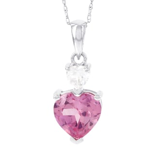 H Star 10k White Gold Created Pink and White Sapphire Double Heart Pendant